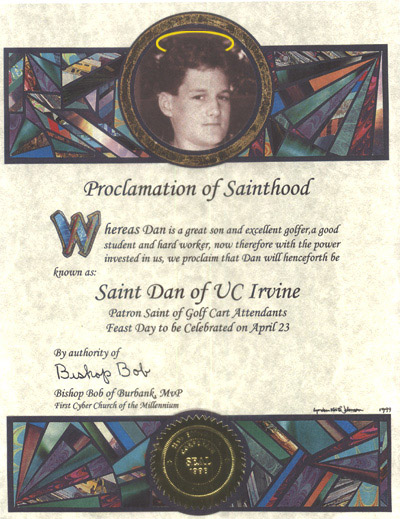 Sample Sainthood Certificate